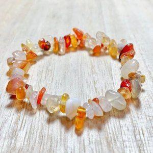Orange Carnelian Chakra Chip Bracelet Gemstone